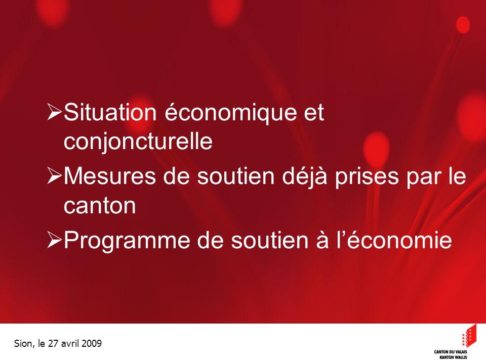 Optimisation de la Promotion économiqueOptimisation de la promotion économique Sion, le 27 avril 2009 Situation économique et conjoncturelle Mesures de soutien déjà prises par le canton Programme de soutien à léconomie