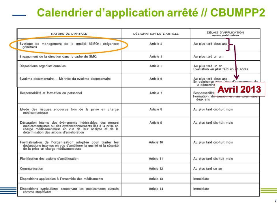 7 Calendrier dapplication arrêté // CBUMPP2