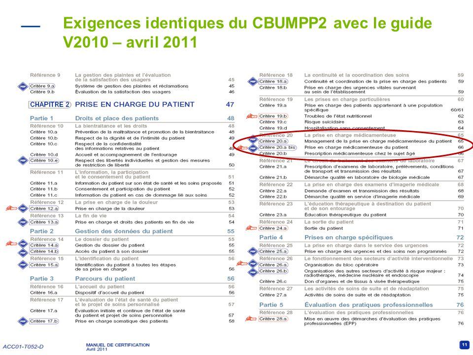 8 Exigences identiques du CBUMPP2 avec le guide V2010 – avril 2011