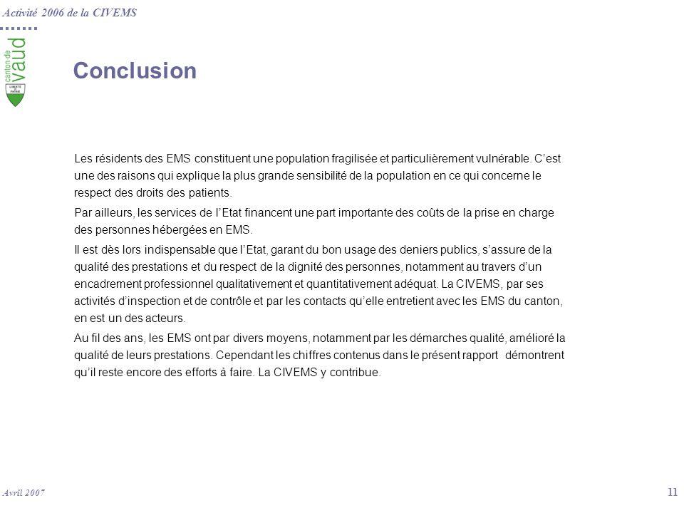 Activité 2006 de la CIVEMS Avril 2007 11 Conclusion Les résidents des EMS constituent une population fragilisée et particulièrement vulnérable. Cest u