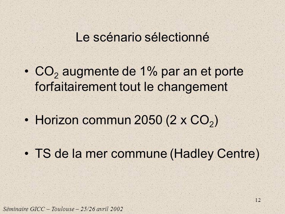 12 Le scénario sélectionné CO 2 augmente de 1% par an et porte forfaitairement tout le changement Horizon commun 2050 (2 x CO 2 ) TS de la mer commune