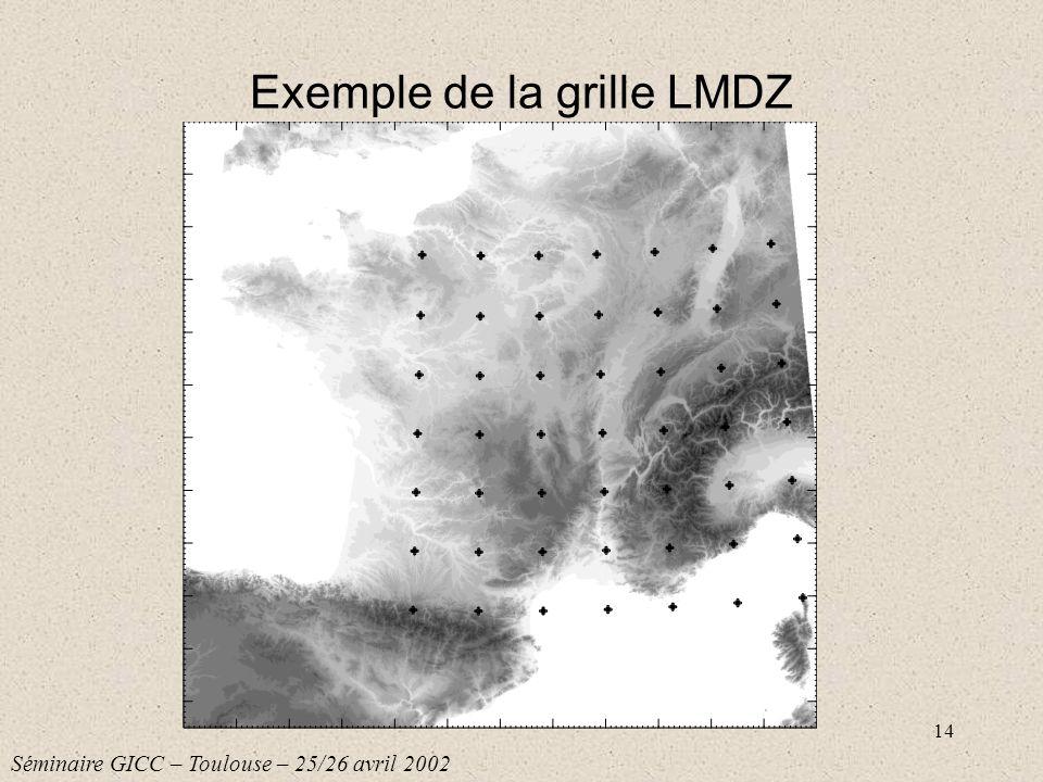 14 Exemple de la grille LMDZ Séminaire GICC – Toulouse – 25/26 avril 2002