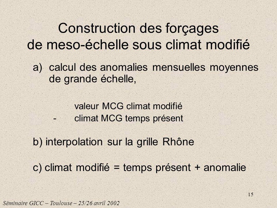15 Construction des forçages de meso-échelle sous climat modifié a)calcul des anomalies mensuelles moyennes de grande échelle, valeur MCG climat modif