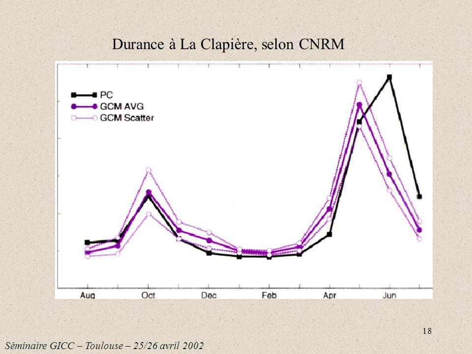18 Durance à La Clapière, selon CNRM Séminaire GICC – Toulouse – 25/26 avril 2002