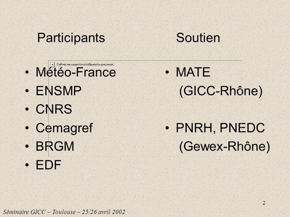 2 Participants Météo-France ENSMP CNRS Cemagref BRGM EDF MATE (GICC-Rhône) PNRH, PNEDC (Gewex-Rhône) Soutien Séminaire GICC – Toulouse – 25/26 avril 2