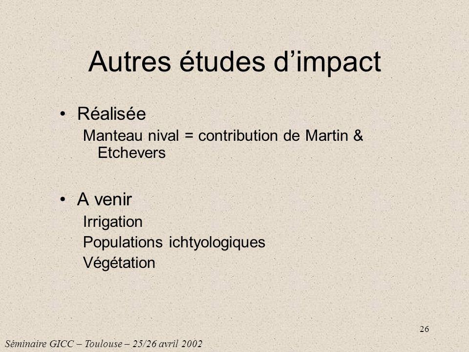 26 Autres études dimpact Réalisée Manteau nival = contribution de Martin & Etchevers A venir Irrigation Populations ichtyologiques Végétation Séminair