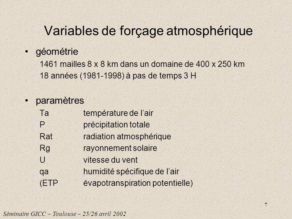7 Variables de forçage atmosphérique géométrie 1461 mailles 8 x 8 km dans un domaine de 400 x 250 km 18 années (1981-1998) à pas de temps 3 H paramètr