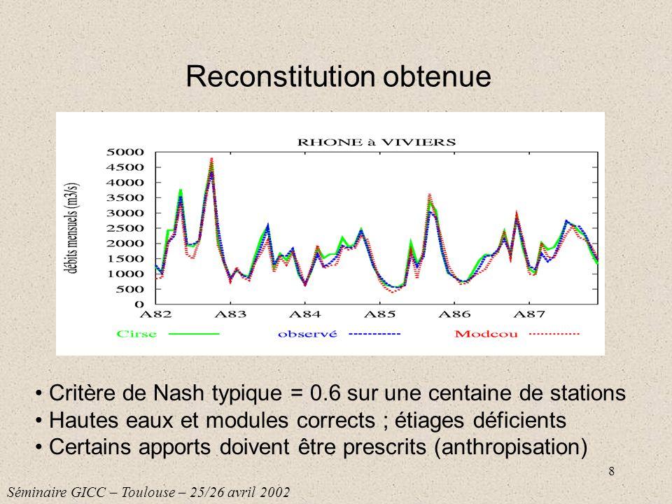 8 Reconstitution obtenue Critère de Nash typique = 0.6 sur une centaine de stations Hautes eaux et modules corrects ; étiages déficients Certains appo