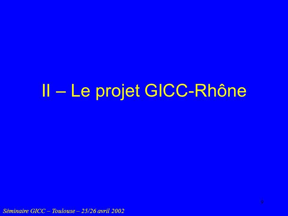 10 Objectifs Simuler lhydrologie du bassin du Rhône relative à un climat modifié 2 x CO 2 Examiner effets physiques et impacts Séminaire GICC – Toulouse – 25/26 avril 2002