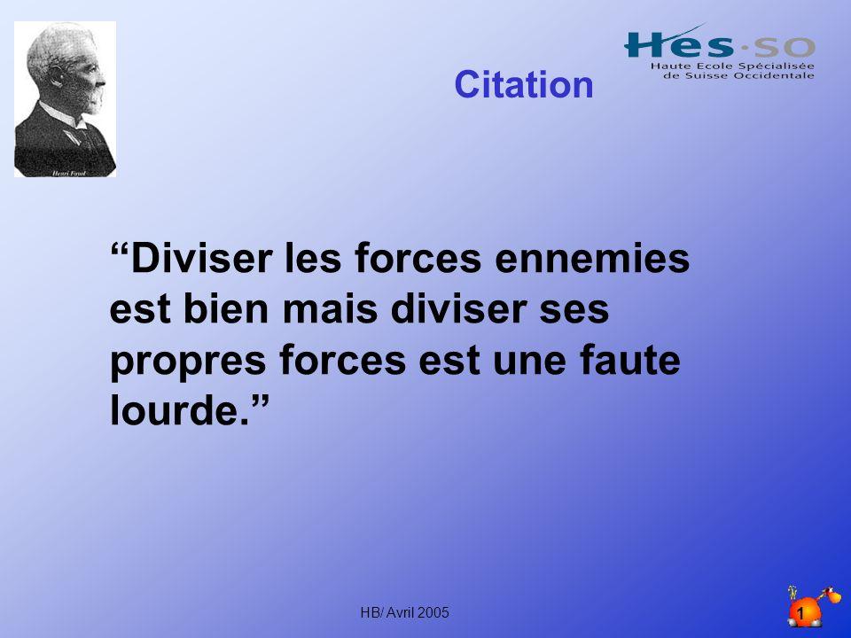 HB/ Avril 2005 1 Citation Diviser les forces ennemies est bien mais diviser ses propres forces est une faute lourde.