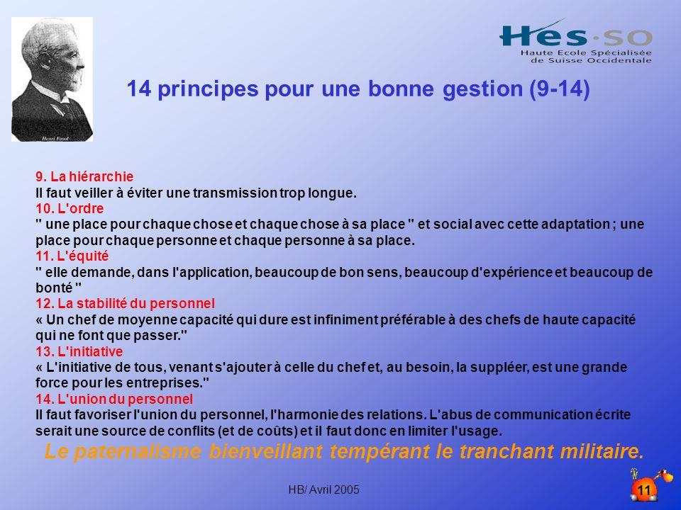 HB/ Avril 2005 11 14 principes pour une bonne gestion (9-14) 9.
