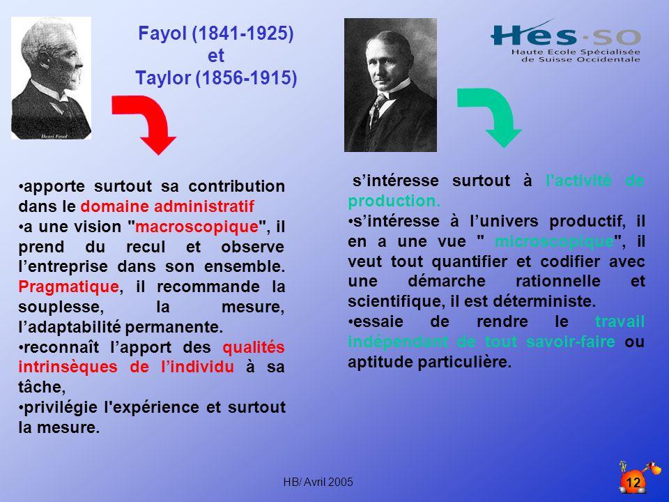 HB/ Avril 2005 12 Fayol (1841-1925) et Taylor (1856-1915) apporte surtout sa contribution dans le domaine administratif a une vision macroscopique , il prend du recul et observe lentreprise dans son ensemble.