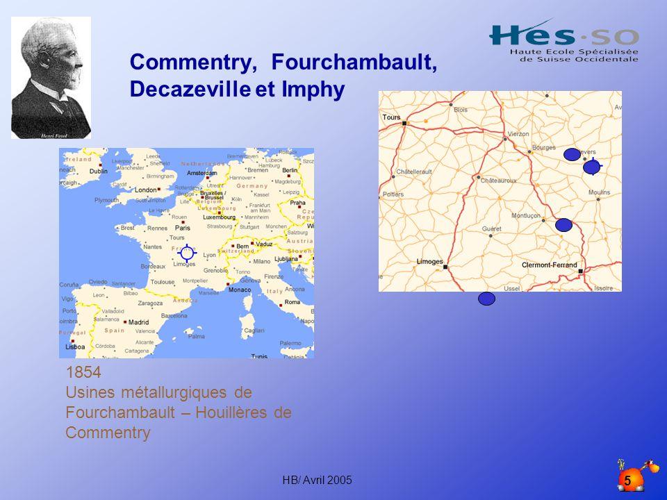 HB/ Avril 2005 5 Commentry, Fourchambault, Decazeville et Imphy 1854 Usines métallurgiques de Fourchambault – Houillères de Commentry