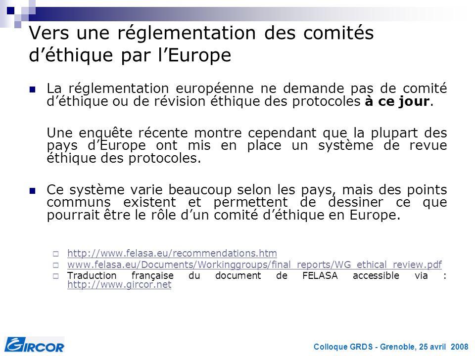 Colloque GRDS - Grenoble, 25 avril 2008 Vers une réglementation des comités déthique par lEurope La réglementation européenne ne demande pas de comité