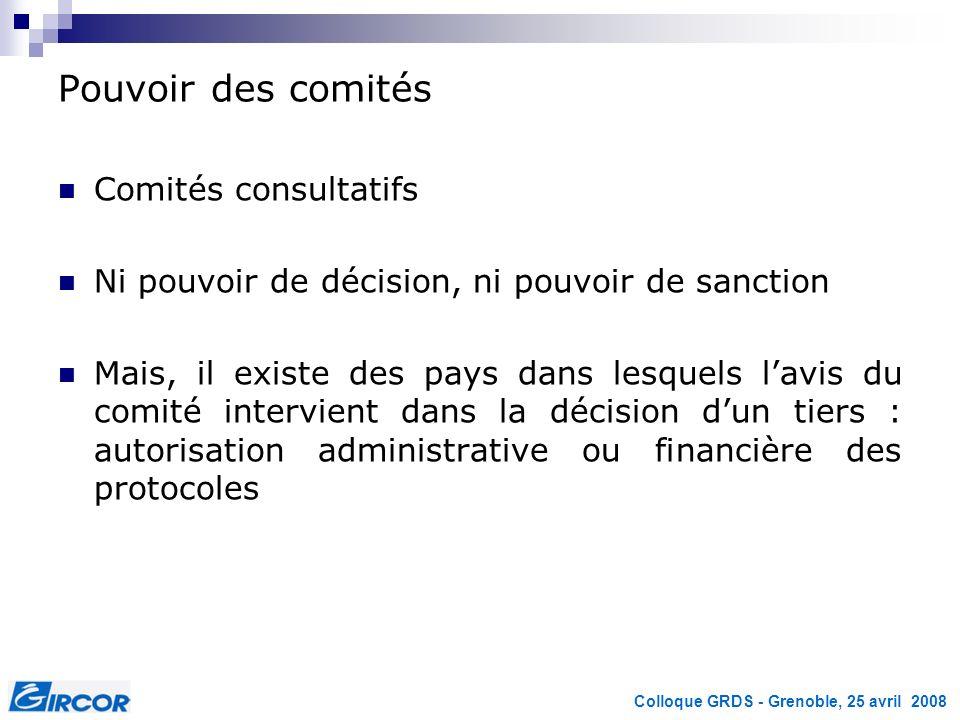 Colloque GRDS - Grenoble, 25 avril 2008 Pouvoir des comités Comités consultatifs Ni pouvoir de décision, ni pouvoir de sanction Mais, il existe des pa