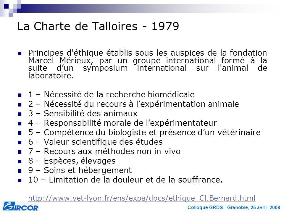 Colloque GRDS - Grenoble, 25 avril 2008 La Charte de Talloires - 1979 Principes d'éthique établis sous les auspices de la fondation Marcel Mérieux, pa