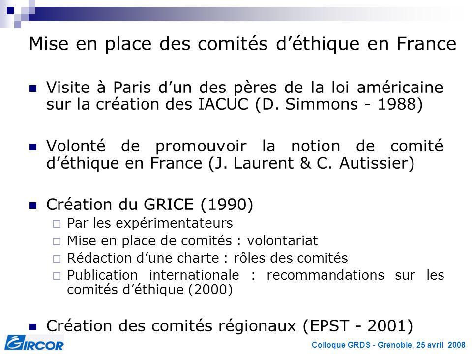 Colloque GRDS - Grenoble, 25 avril 2008 Mise en place des comités déthique en France Visite à Paris dun des pères de la loi américaine sur la création