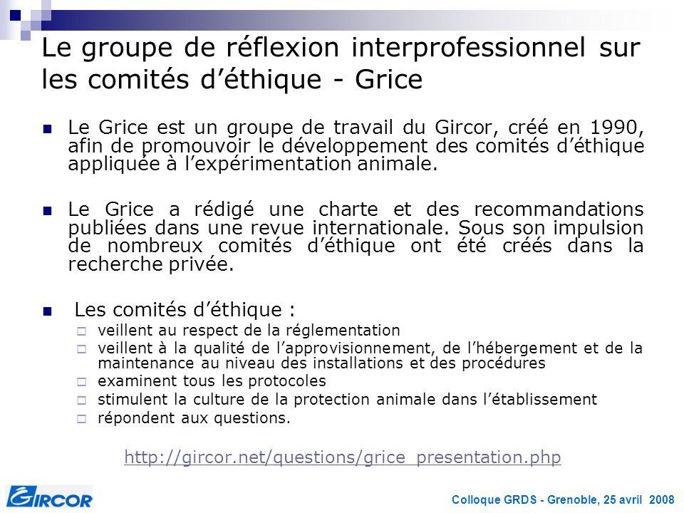 Colloque GRDS - Grenoble, 25 avril 2008 Le groupe de réflexion interprofessionnel sur les comités déthique - Grice Le Grice est un groupe de travail d