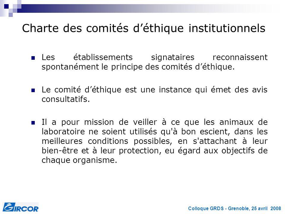 Colloque GRDS - Grenoble, 25 avril 2008 Charte des comités déthique institutionnels Les établissements signataires reconnaissent spontanément le princ