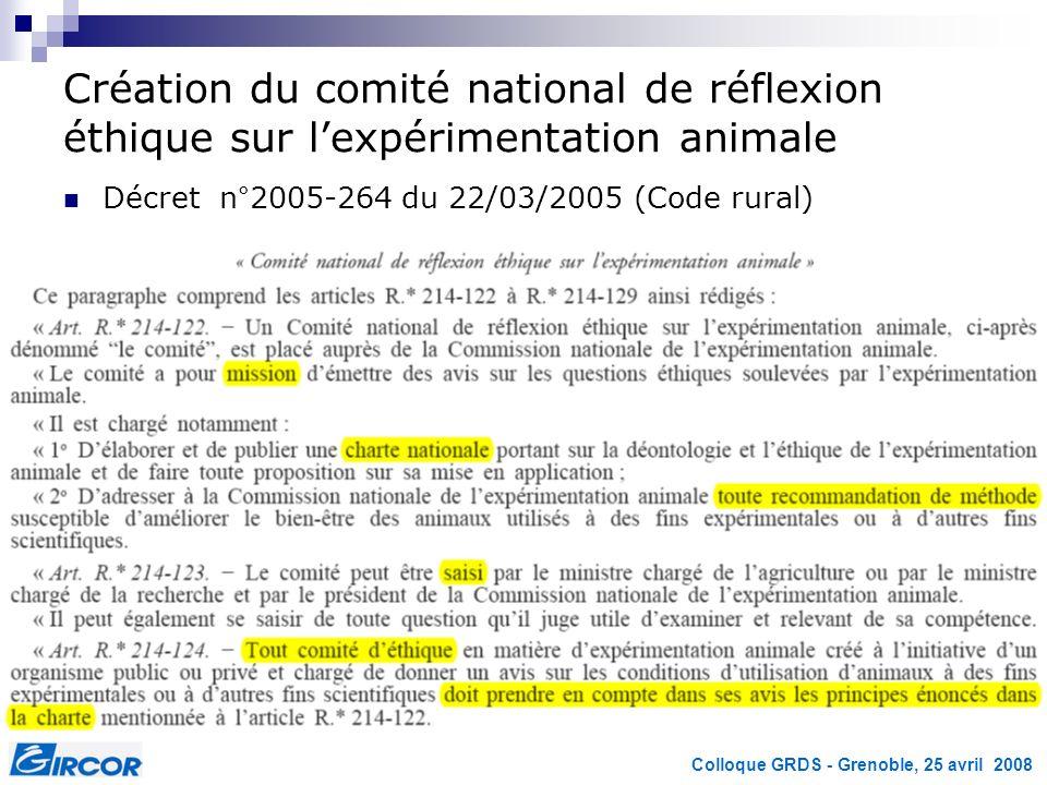 Colloque GRDS - Grenoble, 25 avril 2008 Création du comité national de réflexion éthique sur lexpérimentation animale Décret n°2005-264 du 22/03/2005