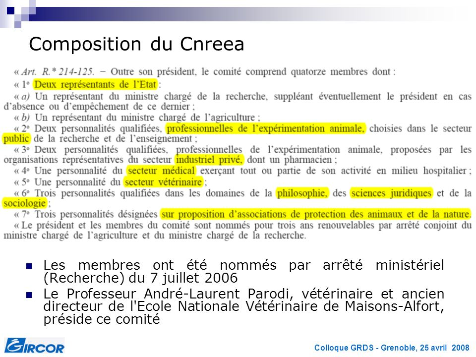 Colloque GRDS - Grenoble, 25 avril 2008 Composition du Cnreea Les membres ont été nommés par arrêté ministériel (Recherche) du 7 juillet 2006 Le Profe