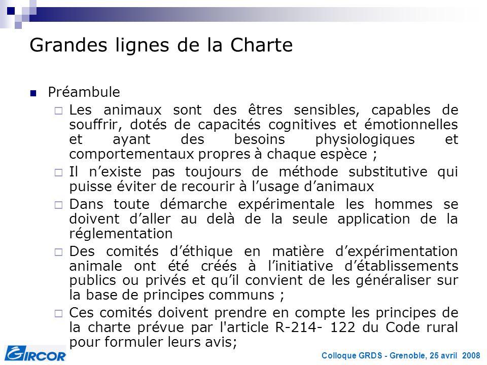 Colloque GRDS - Grenoble, 25 avril 2008 Grandes lignes de la Charte Préambule Les animaux sont des êtres sensibles, capables de souffrir, dotés de cap