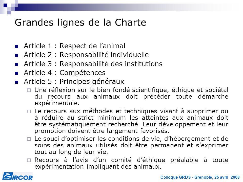 Colloque GRDS - Grenoble, 25 avril 2008 Grandes lignes de la Charte Article 1 : Respect de lanimal Article 2 : Responsabilité individuelle Article 3 :