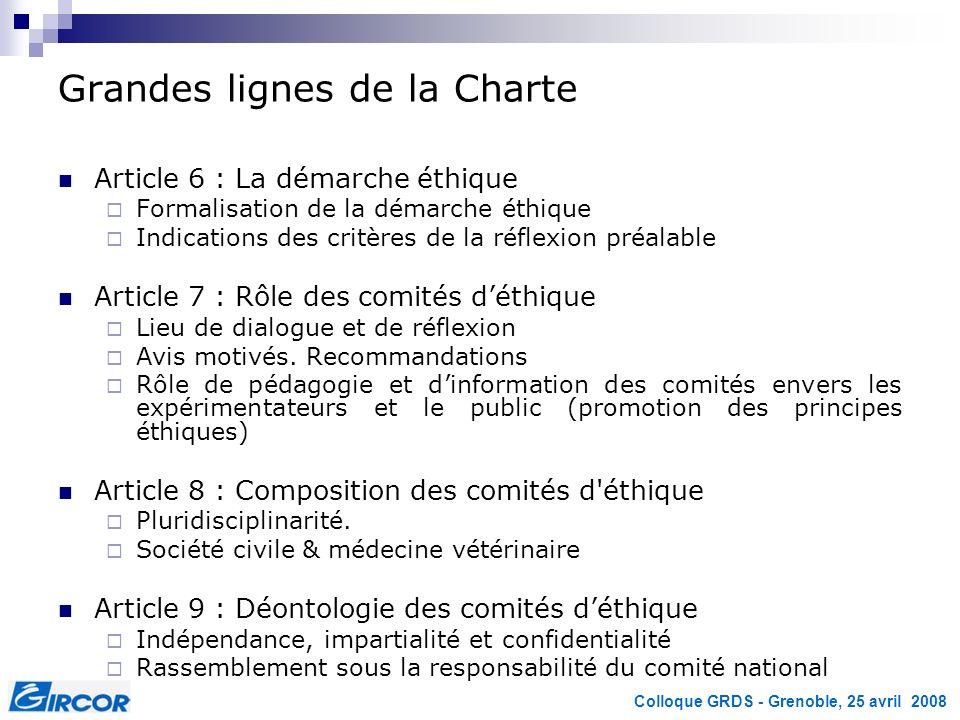 Colloque GRDS - Grenoble, 25 avril 2008 Grandes lignes de la Charte Article 6 : La démarche éthique Formalisation de la démarche éthique Indications d