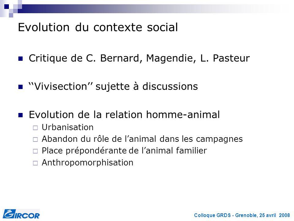 Colloque GRDS - Grenoble, 25 avril 2008 Evolution du contexte social Critique de C. Bernard, Magendie, L. Pasteur Vivisection sujette à discussions Ev