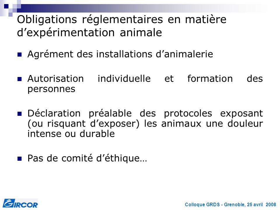 Colloque GRDS - Grenoble, 25 avril 2008 Obligations réglementaires en matière dexpérimentation animale Agrément des installations danimalerie Autorisa
