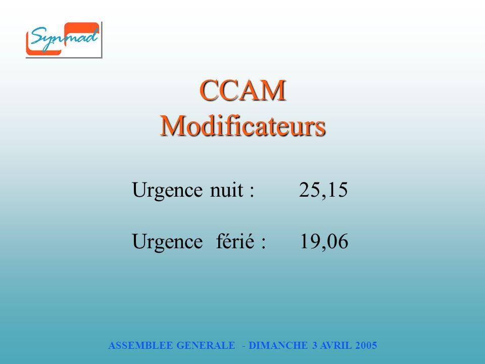 ASSEMBLEE GENERALE - DIMANCHE 3 AVRIL 2005 CCAM Modificateurs Urgence nuit : 25,15 Urgence férié : 19,06