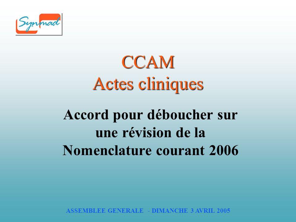 ASSEMBLEE GENERALE - DIMANCHE 3 AVRIL 2005 CCAM Actes cliniques Accord pour déboucher sur une révision de la Nomenclature courant 2006