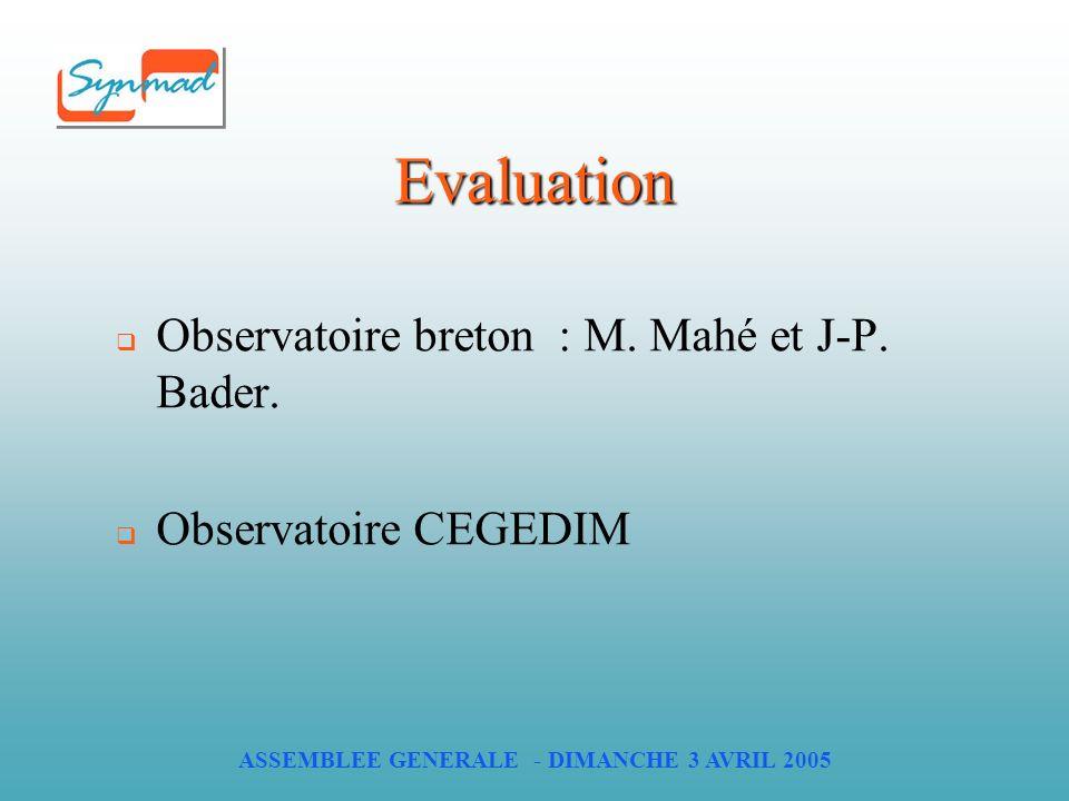 ASSEMBLEE GENERALE - DIMANCHE 3 AVRIL 2005 Evaluation Observatoire breton : M.