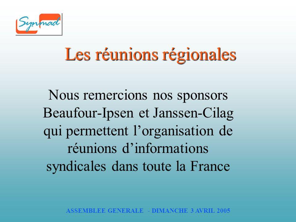 ASSEMBLEE GENERALE - DIMANCHE 3 AVRIL 2005 Les réunions régionales Nous remercions nos sponsors Beaufour-Ipsen et Janssen-Cilag qui permettent lorganisation de réunions dinformations syndicales dans toute la France