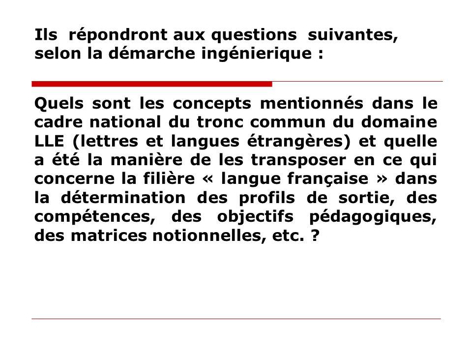 Ils répondront aux questions suivantes, selon la démarche ingénierique : Quels sont les concepts mentionnés dans le cadre national du tronc commun du
