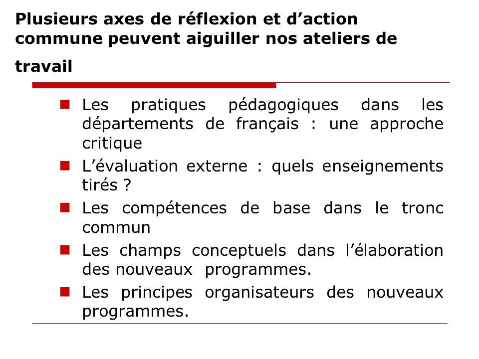 Plusieurs axes de réflexion et daction commune peuvent aiguiller nos ateliers de travail Les pratiques pédagogiques dans les départements de français