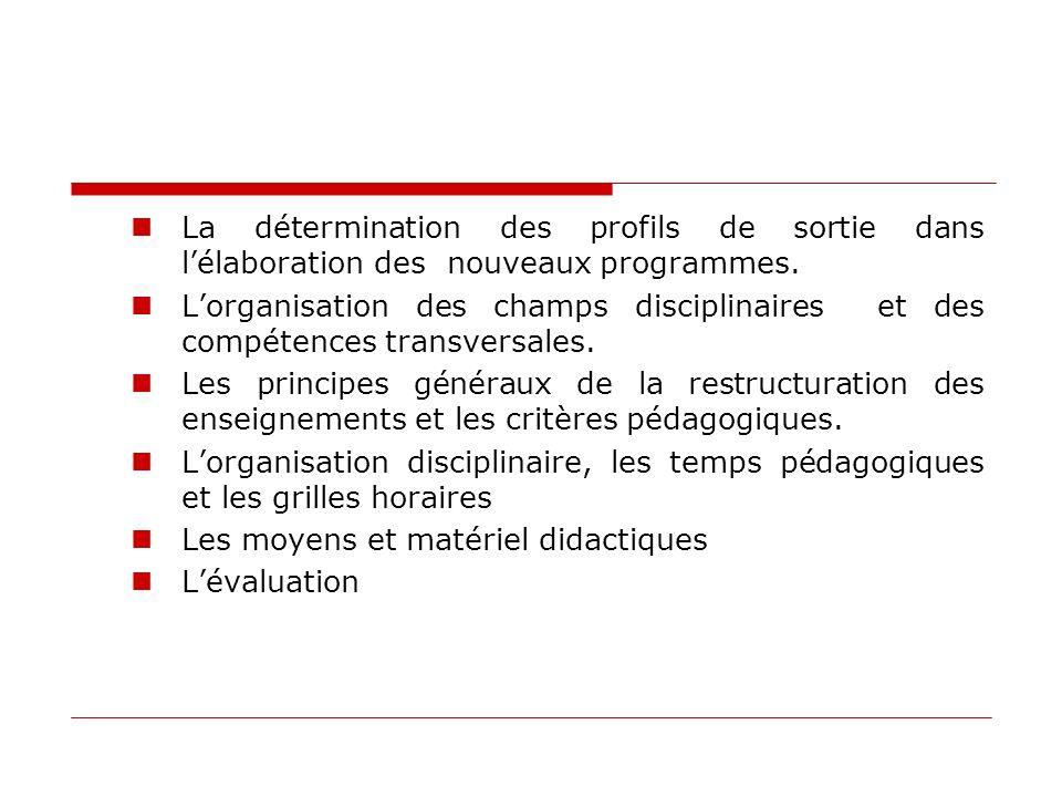 La détermination des profils de sortie dans lélaboration des nouveaux programmes. Lorganisation des champs disciplinaires et des compétences transvers
