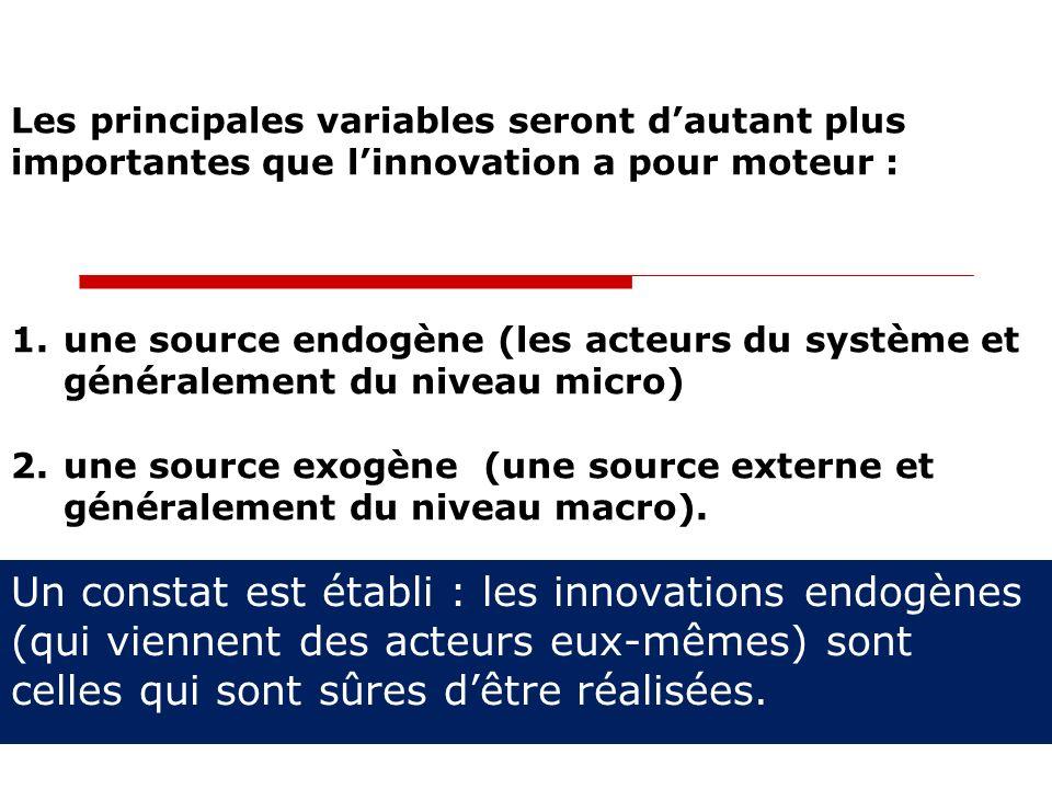 Un constat est établi : les innovations endogènes (qui viennent des acteurs eux-mêmes) sont celles qui sont sûres dêtre réalisées. Les principales var