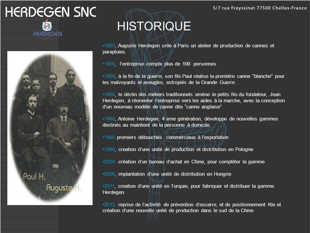 HISTORIQUE 1860, Auguste Herdegen crée à Paris un atelier de production de cannes et parapluies. 1900, lentreprise compte plus de 100 personnes 1924,