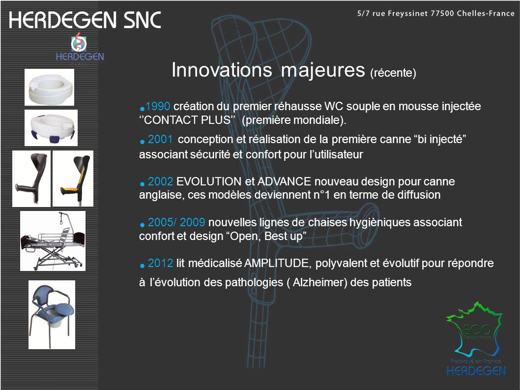 Innovations majeures (récente) 1990 création du premier réhausse WC souple en mousse injectée CONTACT PLUS (première mondiale). 2001 conception et réa