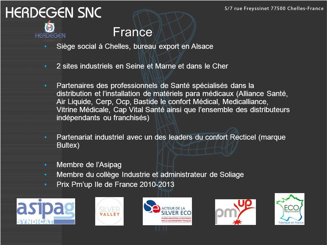 France Siège social à Chelles, bureau export en Alsace 2 sites industriels en Seine et Marne et dans le Cher Partenaires des professionnels de Santé s