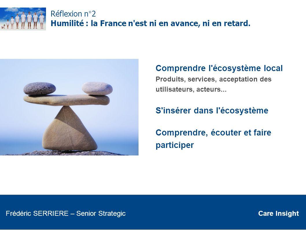 Réflexion n°2 Humilité : la France n'est ni en avance, ni en retard. Comprendre l'écosystème local Produits, services, acceptation des utilisateurs, a