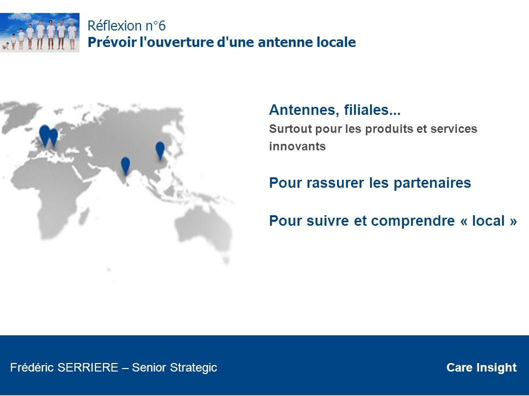 Réflexion n°6 Prévoir l'ouverture d'une antenne locale Antennes, filiales... Surtout pour les produits et services innovants Pour rassurer les partena