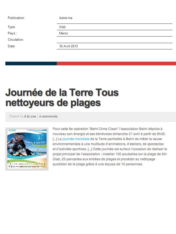 Publication:Azine.ma TypeWeb Pays :Maroc Circulation: Date16 Avril 2013