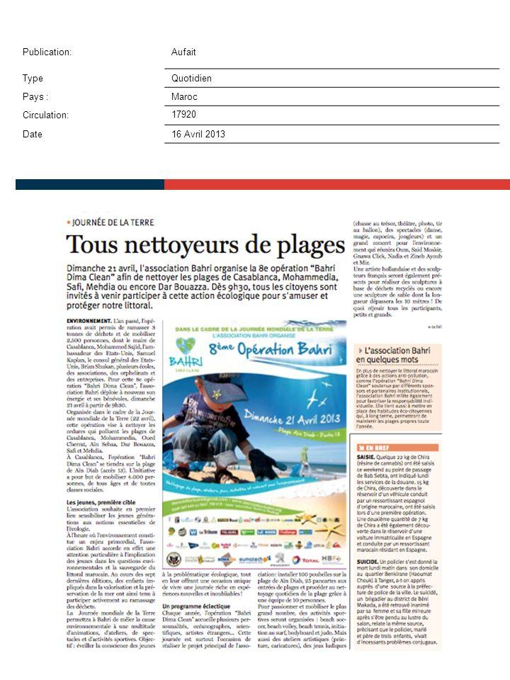 Publication:Made in médina TypeWeb Pays :Maroc Circulation: Date16 Avril 2013