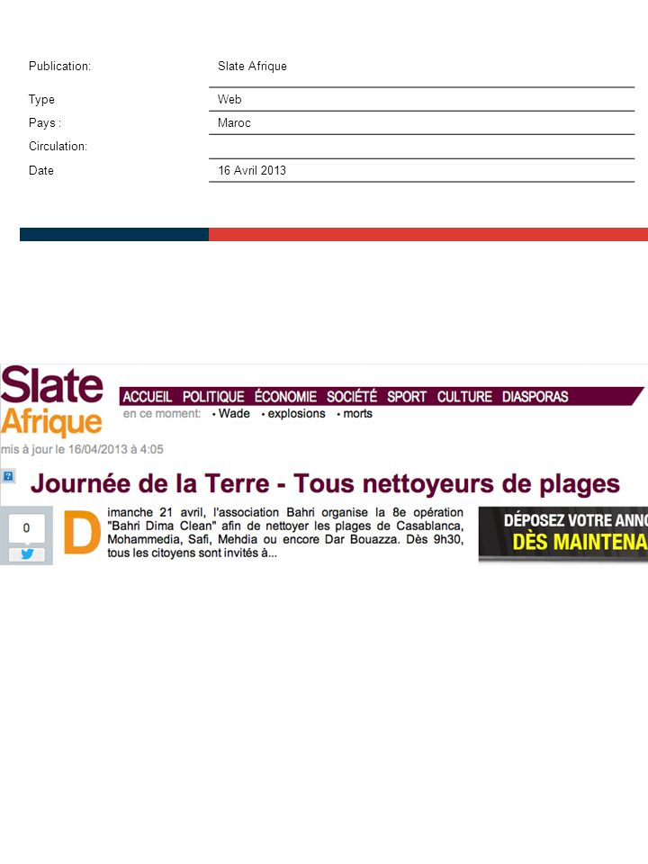 Publication:Slate Afrique TypeWeb Pays :Maroc Circulation: Date16 Avril 2013