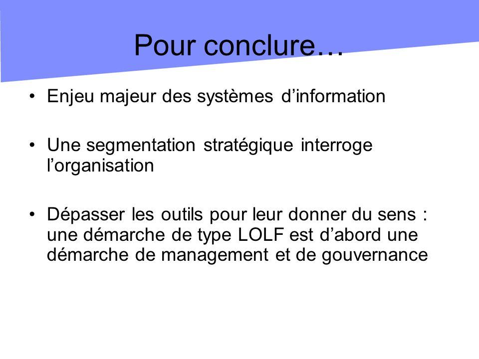 Pour conclure… Enjeu majeur des systèmes dinformation Une segmentation stratégique interroge lorganisation Dépasser les outils pour leur donner du sens : une démarche de type LOLF est dabord une démarche de management et de gouvernance