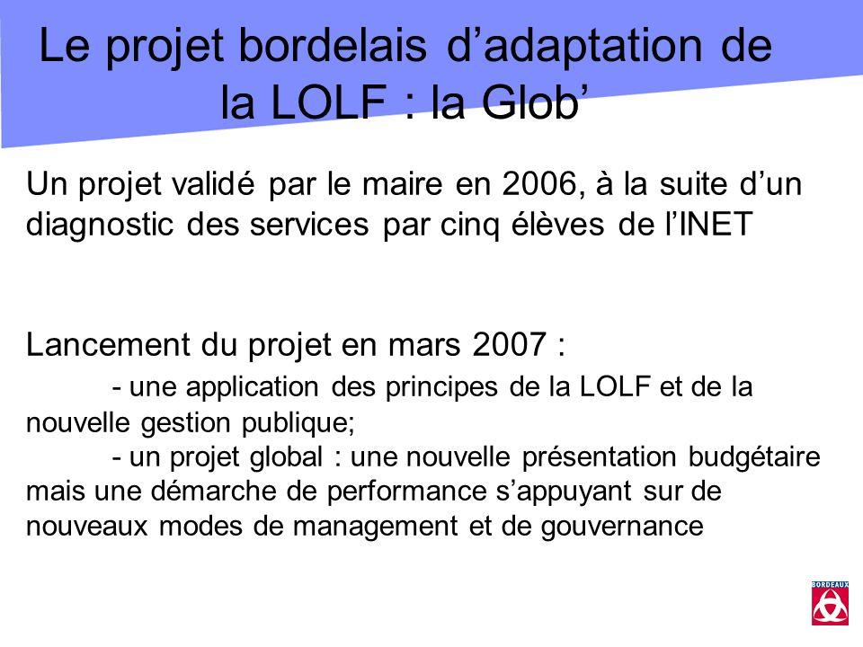 Le projet bordelais dadaptation de la LOLF : la Glob Un projet validé par le maire en 2006, à la suite dun diagnostic des services par cinq élèves de