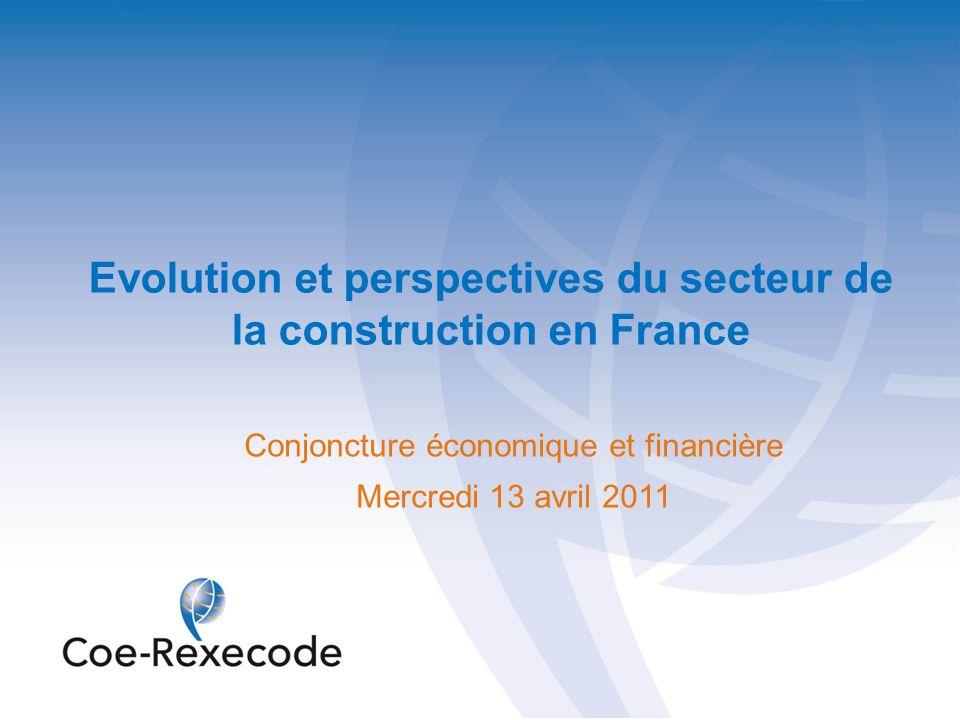22 Construction de logements : un retournement de tendance confirmé (diagnostic du 15 avril 2010) Conjoncture économique et financière – Construction France 13 avril 2011
