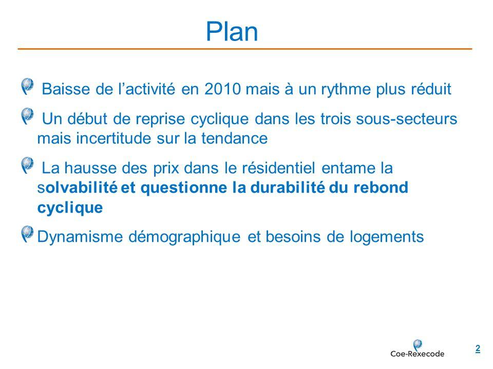 13 Travaux Publics : stabilisation des travaux réalisés en 2010 mais carnets de commandes dégarnis Conjoncture économique et financière – Construction France 13 avril 2011
